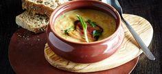 Pea soup with smoked pork cheek