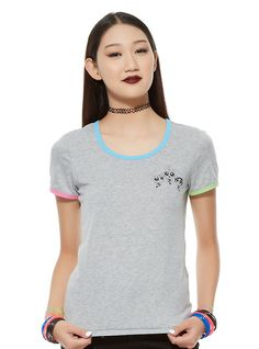 This grey ringer style tee from The Powerpuff Girls is made of sugar, spice and everything nice... and Chemical X! Why? Because it's got Blossom, Buttercup and Bubbles screened on the front. Plus green, blue and pink trim. #HotTopic