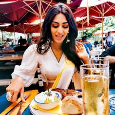 Image may contain: one or more people, people sitting, drink and outdoor Erica Fernandes Hot, New Hindi Songs, Food F, Sari Blouse Designs, Indian Tv Actress, Blogger Girl, Spare Ribs, Saree Look, Bollywood Celebrities