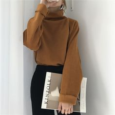 2019 New Womens Casual Loose Sweater Autumn Winter Turtleneck Knitted Jumpers Long Batwing Sleeve Grunge Look, Style Grunge, 90s Grunge, Look Fashion, Korean Fashion, Fashion Outfits, Loose Sweater, Long Sleeve Sweater, Cropped Sweater