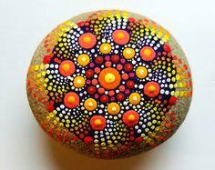 Fall Color Mandala Stone ~ Dot Art Painted Stone ~ Painted Rock ~ Hand Painted Home Decor by Miranda Pitrone