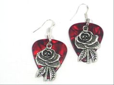 Fender Guitar Pick Rose Charm Earrings Upcyled by cynhumphrey, $6.00