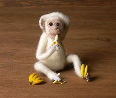 White Needle-Felted Miniature Chimpanzee by DinkyWorld on Etsy
