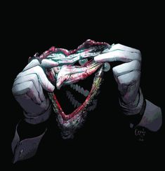 Joker. A man crazy enough to cut off his own face to prove a point. Edit: the joker didn't actually cut off his own face in the comics. It was removed by a villain named the dollmaker. But he did ask him to remove it.