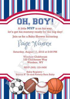 Sports Theme Baby Shower Invitation Diy Print Your By Jcbabycakes 12 00