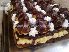 Τούρτα προφιτερόλ Sweets, Baking, Greek Beauty, Desserts, Recipes, Food, Cakes, Sweet Pastries, Bread Making