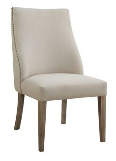 Emerald Home Barcelona Rustic Pine and Beige Upholstered Dining Chair with Curved Back And Nailhead Trim, Set of Two (Beige Upholstered Parsons Side Chair pack), Brown, Emerald Home Furnishings