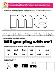 """The sight word this week is """"me"""". Sight words are some of the most frequently…"""