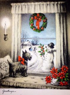 """1950's Vintage Christmas """"Greetings"""" with Scottie Dog & Snowman ....."""