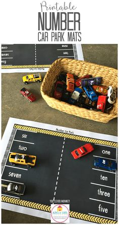 Printable car play mats with numbers Printable Number Car Park Mats – great number recognition activity using cars. Perfect transport theme printables – print and play! Early Years Maths, Early Math, Early Learning, Kids Learning, Maths Eyfs, Kindergarten Math, Preschool Activities, Numeracy, Numicon Activities