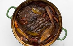 Red wine-braised brisket has all the makings of a family classic.