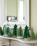 Paper Christmas Trees - (In White card stock, perhaps painted with gold &/or silver... hmm)