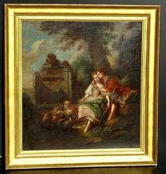 François Boucher « La Leçon De Flûte » Importante Huile/toil