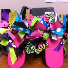 Ribbon Flip Flops Slumber Parties, Birthday Parties, Ribbon Flip Flops, Flip Flop Craft, Cheer Gifts, Crafts For Kids, Diy Crafts, Love Craft, Ribbon Crafts