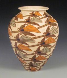 "Common Ground Pottery ""Fan Flowers"" Vase - Mint Auctions Online | Proxibid | #CAPCA"