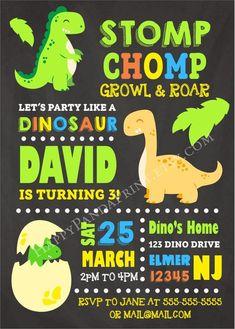 Dinosaur Invitation Dinosaur Birthday Invitation Dinosaur Party Baby Dinosaur Chalkboard Invitation
