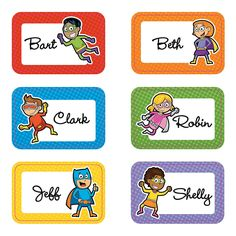 Superhero Name Tags/Labels, Name Tags, Teacher Resources, Teaching Supplies & Stationery - Oriental Trading