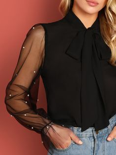 Shop Tie Neck Pearl Beading Mesh Sleeve Top at ROMWE, discover more fashion styles online. Classy Outfits, Cool Outfits, Fashion Outfits, Effortlessly Chic Outfits, Rainbow Outfit, Hoodies For Sale, Pants For Women, Clothes For Women, Faux Leather Pants