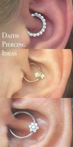 Ear Piercing Ideas at - Daith Piercing Jewelry Hoop - Silver Crystal Flower Ring - Gold Bee Segment Hoop Piercing Implant, Piercing Eyebrow, Daith Piercing Jewelry, Tattoo Und Piercing, Helix Piercings, Body Piercings, Cartilage Earrings, Stud Earrings, Migraine Piercing