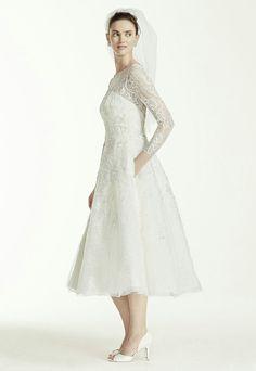 Lace Tea Length Long Sleeve Wedding Dress by Oleg Cassini for David's Bridal