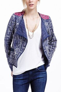 Floral Batik Drapey Jacket #anthropologie brainstorming ideas for own prints and inside/out jacket!