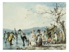 Skaters on the Serpentine, Hyde Park, London, 1786 by Julius Caesar Ibbetson at AllPosters.com