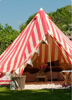 Red & white striped wedding tent