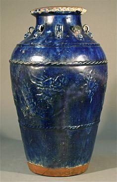 Large blue glazed Chinese pottery ceramic clay storage jar vase
