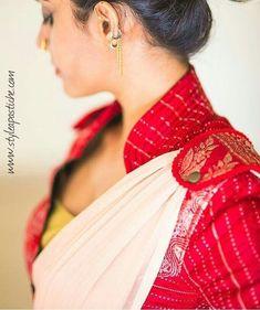 Such a elegant and graceful blouse designs - ArtsyCraftsyDad Saree Jacket Designs, Saree Blouse Neck Designs, Fancy Blouse Designs, Indian Blouse, Indian Sarees, Indian Wear, Silk Sarees, Stylish Blouse Design, Look Short