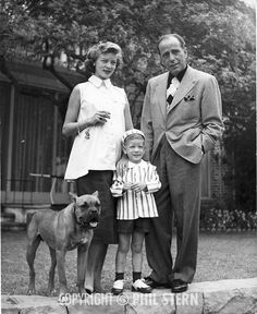 Lauren Bacall,husband Humphrey Bogart with their child.