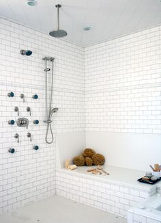 Create a gorgeous walk-in shower with our tips on tile treatments, lighting, layout, storage, and more. Whether you're working with a tight space or have room to fill, these walk-in shower ideas will add a little luxury to your every day. #walkinshower #walkinshowerideas #bathroommakeover #showerideas #bhg Spa Shower, Shower Floor, Walk In Shower, Dream Shower, Bathroom Showers, Built In Shower Seat, Small Shower Remodel, Bath Remodel, Kitchen Remodel