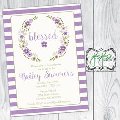 Blessed Striped, Floral Wreath Bridal Shower Invitation, Purple Lavender and Green (Digital File) by jojosdesigns on Etsy
