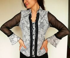 Blouse lace  black & white pattern 50'60' retro