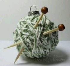 Yarn ball ornament: Cover a glass ornament with some cheap yarn and add miniature needles! I have several friends who would love this! diy glass ornaments