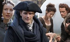 Outlander heartthrob Sam Heughan has been pictured filming series three of the time travel drama alongside Caitriona Balfe in Edinburgh's Royal Mile.