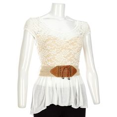 Sweetheart Lace Belted Hi-lo top-Jr.