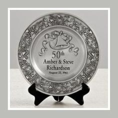 Honor the happy couple with our intricately sculpted pewter anniversary plate.