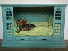 An old t.v. Console turned into a pet bed, Love this idea! - Click image to find more Home Decor Pinterest pins