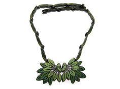 Necklace | Margot de Taxco. Sterling Silver and Green Confetti Enamel. ca. 1950s