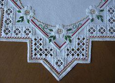 Hardanger Bordado Mantel Para Navidad-Star - 100% hecho a mano y nuevos
