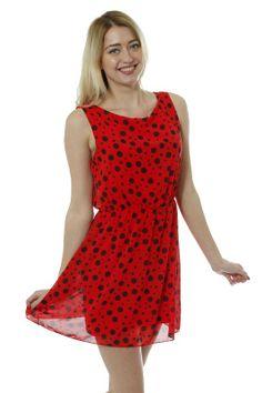 Sleeveless polka dot skater look chiffon dress £7