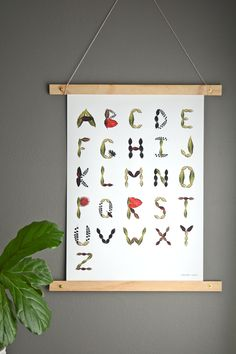 Tropical Foliage Alphabet poster - she made this herself and it is so cool!