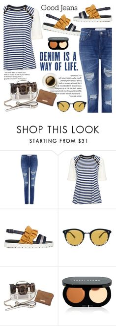 """""""Tear it Up: Distressed Denim"""" by ifchic ❤ liked on Polyvore featuring IRO, 10 Crosby Derek Lam, Mother of Pearl, Oliver Peoples, Bobbi Brown Cosmetics, distresseddenim, contestentry and ifchic"""