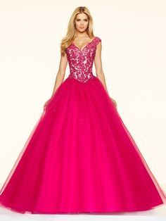 Modest Ball Gown Fuchsia Tulle Appliques Lace V-neck Prom Dresses #DMD020100930