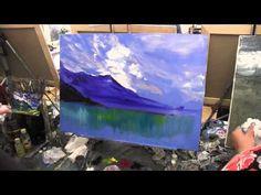 озеро и горный мотив , рисунок маслом, графика, рисование в Москве и Спб, Сахаров - YouTube