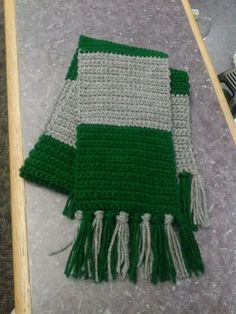 My version of a Hogwarts scarf - here is Slytherin