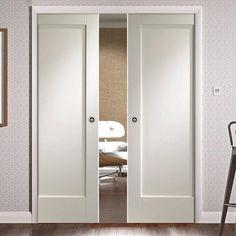 Doors inc in kit - Double Pocket Pattern 10 Style Panel Door is Primed Double Pocket Door, Pocket Door Frame, Pocket Doors, Double Doors, Glass Panel Door, Panel Doors, Primed Doors, Door Fittings, Flush Doors