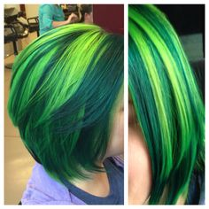 Pravana Neon Blue and Neon Yellow mixed together to make the lime green, Pravana Green for the dark green. I love it!