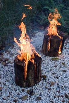 white gravel, fire, wood, swedish torch
