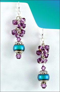 Make these fun earrings with a sultry combination of Swarovski lilac crystals and the always enchanting mood beads. A cluster...